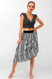 Black and White Striped Ribbed Skirt