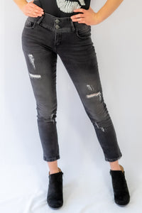 Faded Black Ripped Skinny Jeans