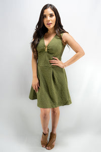 Olive Sleeveless Above Knee Cocktail Dress