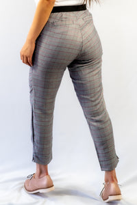 Grey Plaid Slim Fit Ankle Pants with Pockets