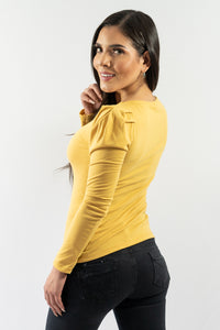 Mustard Puff Shoulder Long Sleeve Fitted Blouse