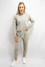 Load image into Gallery viewer, Grey Cropped Hoodie Sweatpants Set