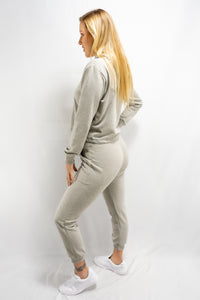 Grey Cropped Hoodie Sweatpants Set