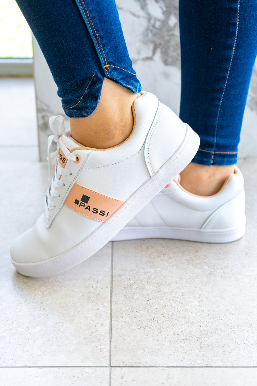 White with Peach Lightweight Walking Sneakers