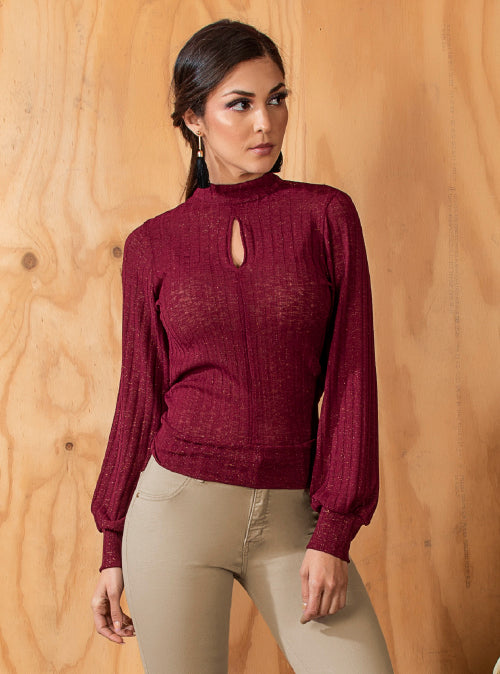 Ruby Ribbed Long Sleeve Blouse