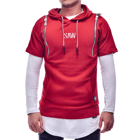 Red Short Sleeve Hoodies Sweater - Zzyzx Road Apparel