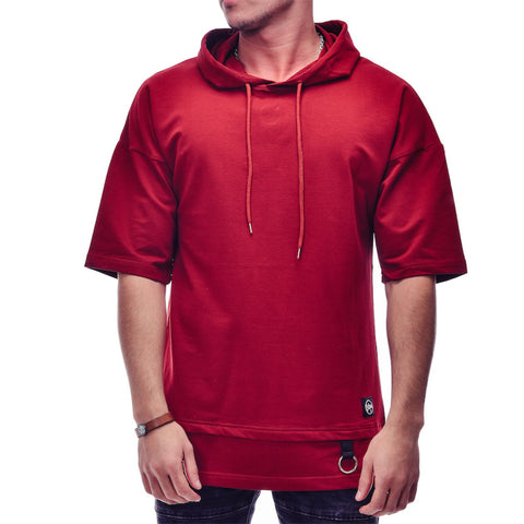 Red Hoodie Short Sleeve Sweater - Zzyzx Road Apparel