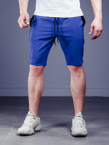 Waistband and Drawstring Striped Shorts - Blue - Zzyzx Road Apparel