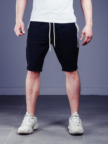 Waistband and Drawstring Striped Shorts - Black - Zzyzx Road Apparel