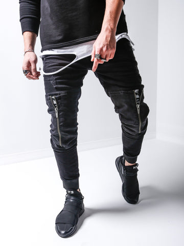 Zippered Knee Jeans With Elastic Ankle - Zzyzx Road Apparel