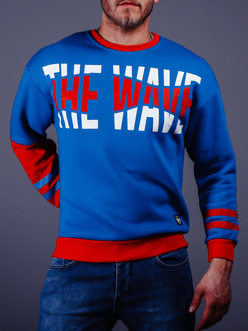 Blue and Red Oversized Printed Sweatshirt - Zzyzx Road Apparel
