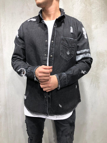 Black Ripped Denim Shirt - Zzyzx Road Apparel