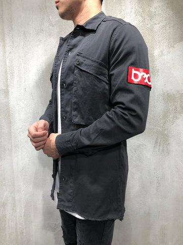 Black Canvas Shirt with Red Armband - Zzyzx Road Apparel
