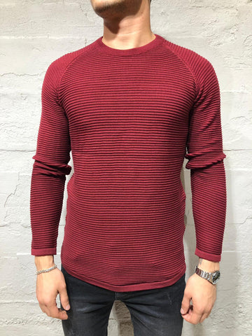 Maroon Ridged Knitwear Cardigan Sweater - Zzyzx Road Apparel