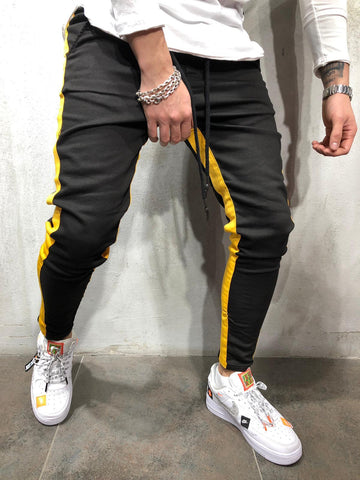 Jogger Jeans with Yellow Side Stripes - Zzyzx Road Apparel