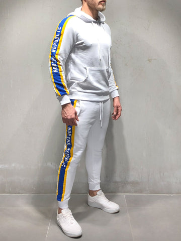 White Hooded Tracksuit - Zzyzx Road Apparel