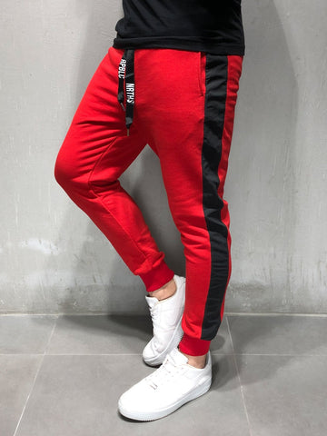 Red Sweatpants With Black Side Stripes - Zzyzx Road Apparel