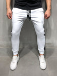 White Sweatpants With Black Side Stripes - Zzyzx Road Apparel