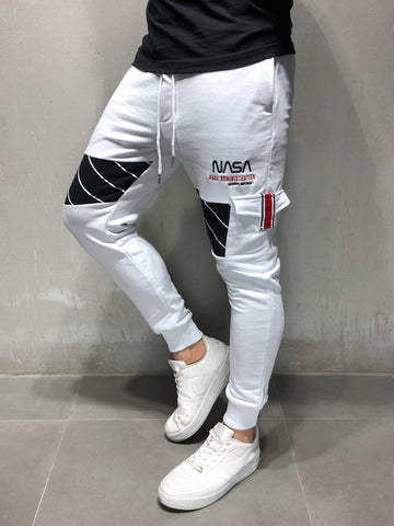 White Cargo Sweatpants With NASA Embroidery - Zzyzx Road Apparel