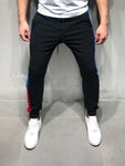 Black Sweatpants with Red and Blue Side Stripes - Zzyzx Road Apparel
