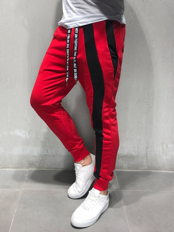 Red Sweatpants With Black Stripes - Zzyzx Road Apparel