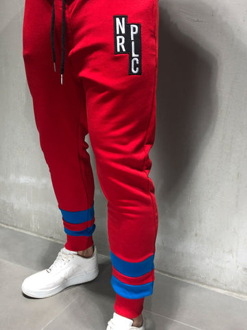 Red Sweatpants with Letter Patch - Zzyzx Road Apparel
