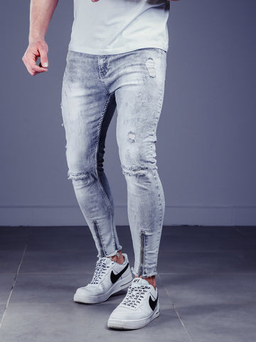 Gray Jeans with Ankle Zippers - Zzyzx Road Apparel