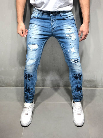 Random Ripped Jeans With Palm Tree Print - Zzyzx Road Apparel