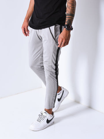 Grey Ankle Pants with Black Side Stripes - Zzyzx Road Apparel