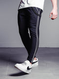 Black Ankle Pants  With Side Stripes - Zzyzx Road Apparel