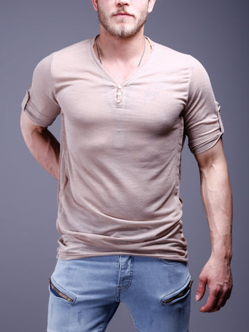 V-Neck T-Shirt Roll up Sleeves - Beige - Zzyzx Road Apparel
