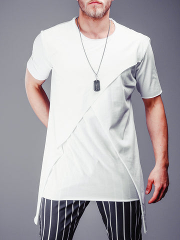 White Raw Cut T-Shirt With Patched Blocks - Zzyzx Road Apparel