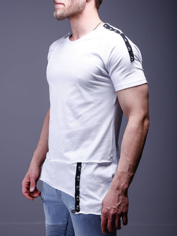 White Patched Block T-Shirt With Shoulder Stripe - Zzyzx Road Apparel