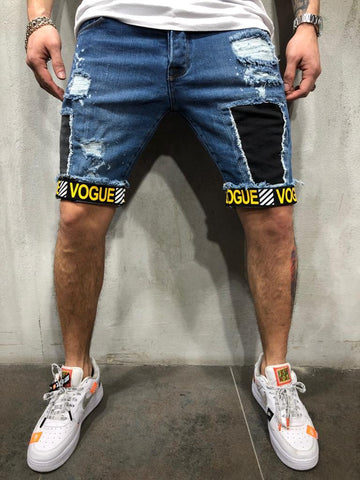 Ripped & Repaired Jean Shorts With Tiger Patch - Zzyzx Road Apparel