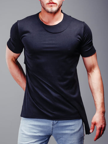 Black Double Layer T-Shirt with Asymmetric Cut - Zzyzx Road Apparel