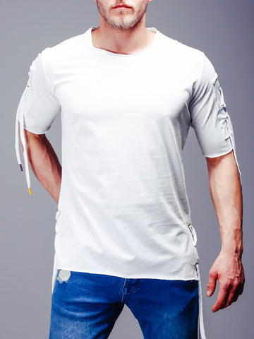 White Plain T-Shirt with String Details - Zzyzx Road Apparel