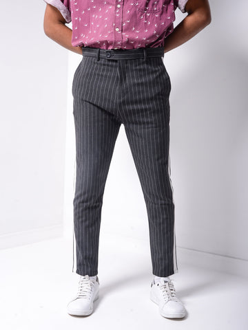 Striped Ankle Pants -Black - Zzyzx Road Apparel
