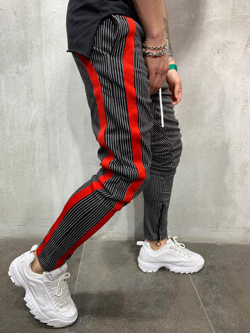 Striped Sweatpants With Red Side Stripes - Zzyzx Road Apparel