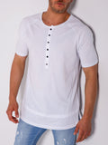 White Button-up T-Shirt With String Details - Zzyzx Road Apparel