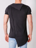Black Funnel Neck T-Shirt Raglan Sleeve - Zzyzx Road Apparel