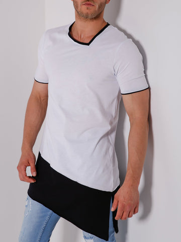 Black and White Double-Layer Asymmetric T-Shirt - Zzyzx Road Apparel