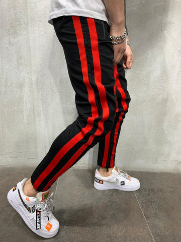 Striped Sweatpants with Zipper Pockets - Black - Zzyzx Road Apparel