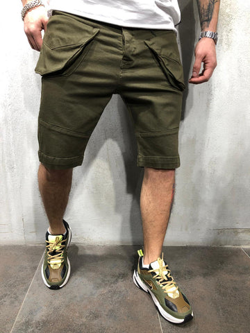 Khaki Denim Shorts With Cargo Pockets - Zzyzx Road Apparel