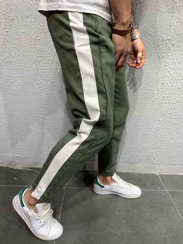 Khaki Jogger Pants with White Stripes - Zzyzx Road Apparel