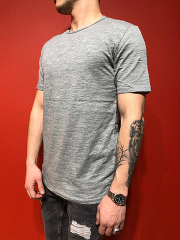 Gray Crew Neck T-Shirt Plain Design - Zzyzx Road Apparel