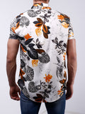 Floral Design Button-Up Shirt Revere Collar - Zzyzx Road Apparel