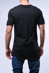 Black Longline T-Shirt With Layered Extensions - Zzyzx Road Apparel
