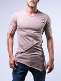 Beige Layered T-Shirt With String Details - Zzyzx Road Apparel