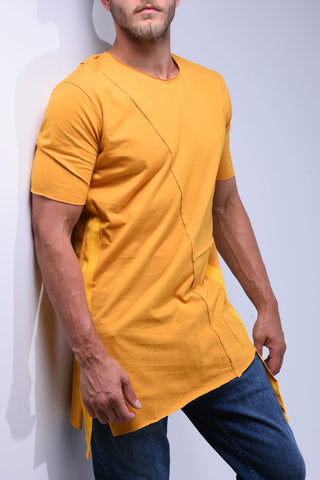 Yellow Asymmetric T-Shirt With String Details - Zzyzx Road Apparel