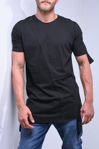 Black Asymmetric T-Shirt With String Details - Zzyzx Road Apparel